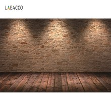 Laeacco Stage Old Brick Wall Shiny Spotlight Wooden Floor Baby Child Portrait Photo Backgrounds Backdrops For Studio