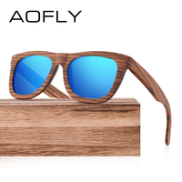 AOFLY Walnut Wood Polarized Sunglasses Women Men Handmade Driving Sun Glasses Goggle Retro Vintage Wooden Frame