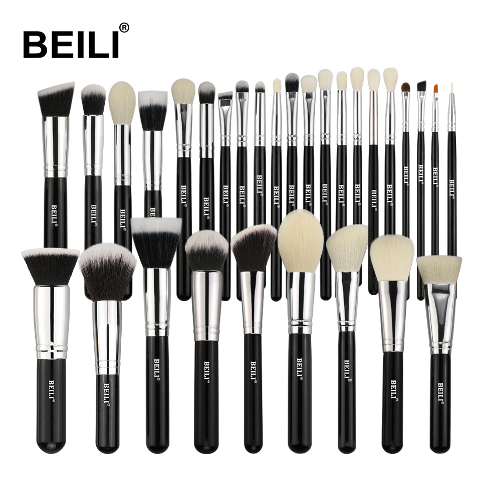 BEILI Black Complete Professional Natural goat hair Foundation Powder Concealer Contour Eyes Blending 30pcs Makeup Brush set beili 12 pieces black premium goat hair synthetic powder foundation blusher eye shadow concealer makeup brush set cosmetic bag