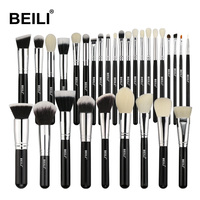 BEILI Black Complete Professional Natural goat hair Foundation Powder Concealer Contour Eyes Blending 30pcs Makeup Brush set