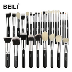 BEILI Black Complete Professional Natural goat hair Foundation Powder Concealer Contour Eyes Blending 30pcs Makeup Brush set