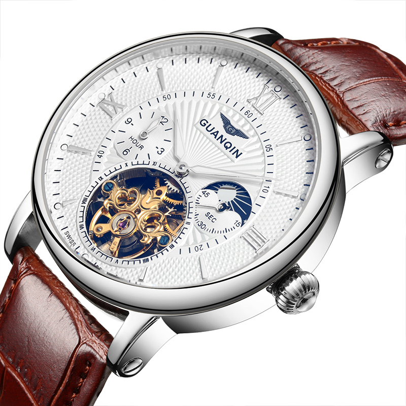 Guanqin Business Watch Top Brand Luxury automatic watch Men Leather Tourbillon Moon Phase Waterproof Luminous Mechanical watches guanqin luxury watch men moon phase waterproof luminous watch automatic stainless steel tourbillon mechanical wristwatches gifts