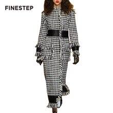 Women Slim Long Wool Coat Women's Plaid Long Coat High Quality Luxury Wool Coat with Tassel