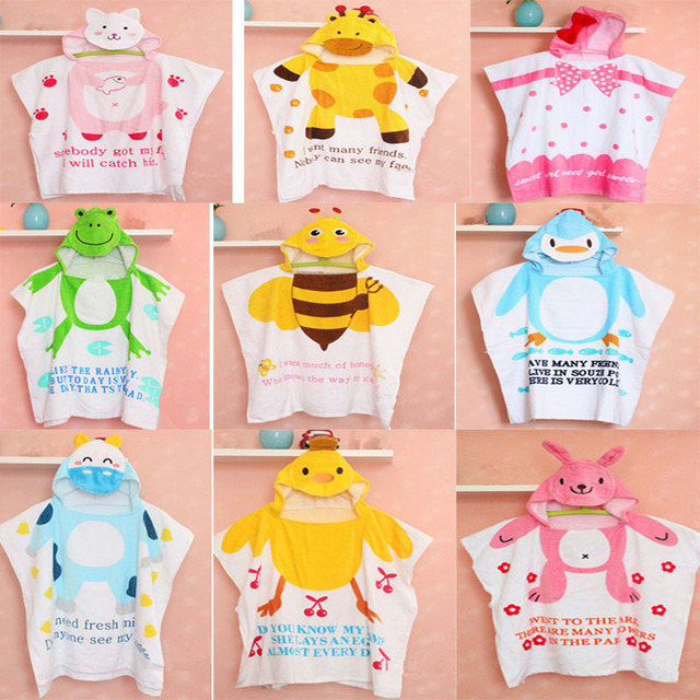 Hot sale 100% Cotton Baby Beach Gown Child Bathrobe Beach Towels Baby Cloak Cape Baby Bath Towel Child Bathrobes Cartoon Hooded