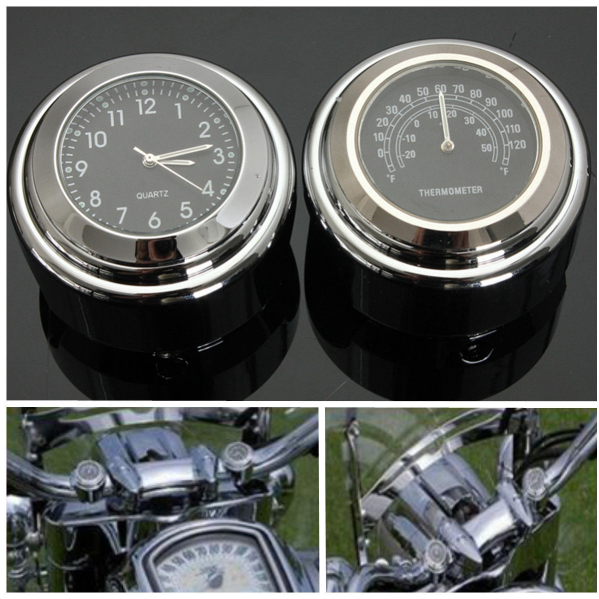 7/8 1 мотоцикл Велосипедное Крепление Циферблат часы термометр ТЕМП для Harley