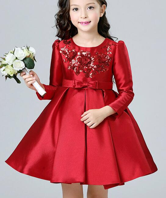 Girl Red Sequins Dress Kids Prom Party Wedding Bridesmaid Ball Gown Long Sleeves Children's Costume For Girl Birthday Dresses