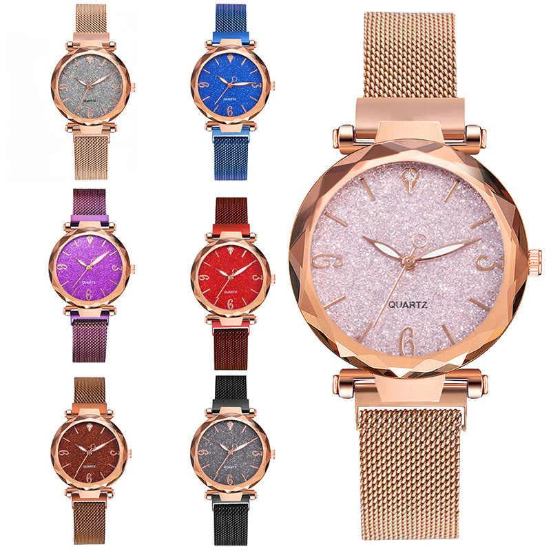 ローズゴールド女性腕時計 2019 トップブランドの高級磁気星空女性腕時計メッシュ女性時計ドロップシップのためレロジオ feminino
