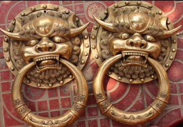 "Adaptable Zm 18"" Chinese Bronze Fengshui Fu Foo Dog Guardion Lion Head Door Knocker Gate Pair R0711 Discount 35% Famous For Selected Materials, Novel Designs, Delightful Colors And Exquisite Workmanship"