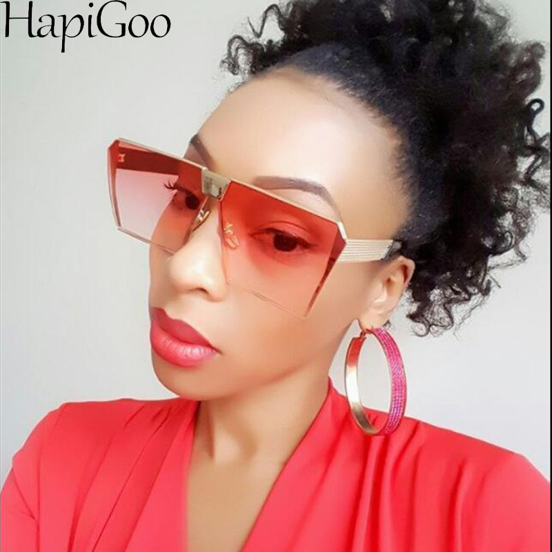 15ac1f8b067f7 HAPIGOO Vintage Oversized Square Rimless Sunglasses Women Men Mirror Flat  top Big Glasses Brand Designer Sun Glasses For Female-in Sunglasses from  Apparel ...