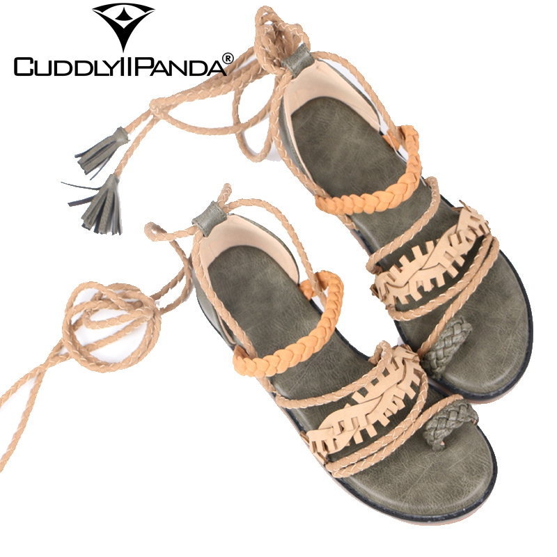 CuddlyIIPanda 2019 New Roman Sandals with Toenails Ties Cross tied Women Gladiator Sandals Summer Cool Tassels