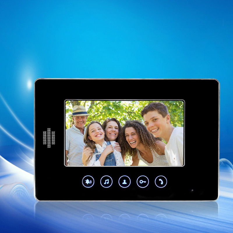 7 inch Color Video Door Phone TFT LCD Monitor Speakerphone Black Indoor machinWithout IR COMS Camera For Intercom System 7 inch tft color video door phone video monitor screen indoor station without ir camera for diy intercom system v70e white color