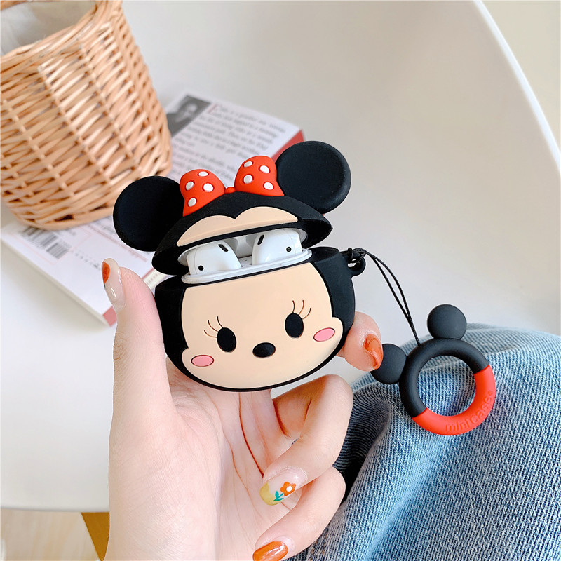 Image 3 - 3D cartoon Mickey Minnie Mouse Soft Silicone Earphone Case For Apple AirPods 1 2 Protection Wireless Bluetooth Headset Cover-in Earphone Accessories from Consumer Electronics