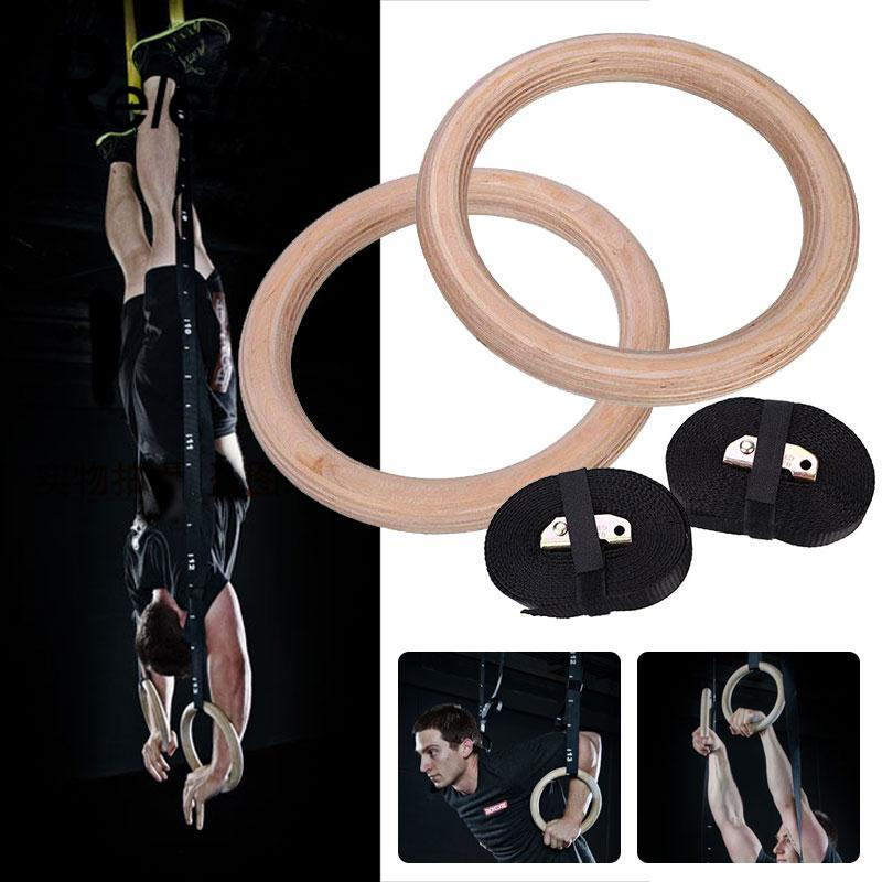 Wooden 28mm Exercise Hanging Fitness Gymnastic Rings Adjustable Gym Crossfit Muscle Strength Training Pull Ups Muscle Ups gymnastic rings crossfit gym for upper body strength fitness and bodyweight excercising