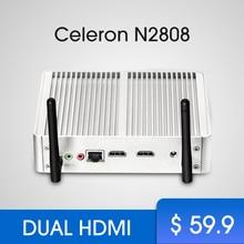 Cheapest Fanless Mini PC Windows tv box Celeron N2807 Dual HDMI Windows 7 Mini Computer WIFI USB mimipc office software