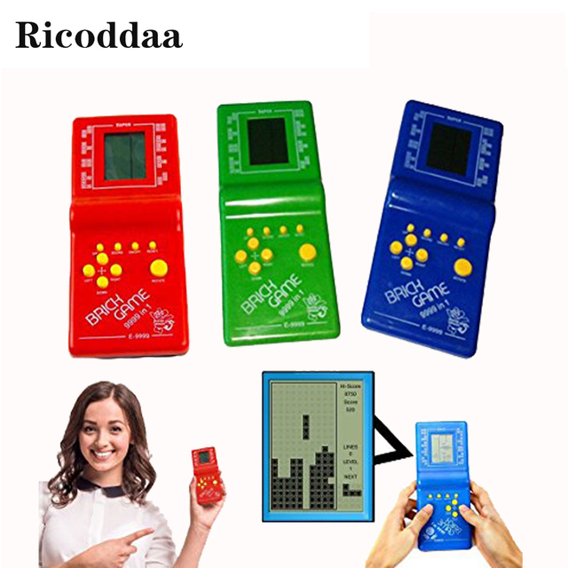 "Childhood Classic Retro Tetris Handheld Game Player 2.7"" LCD Electronic Game Toys Pocket Game Console Riddle Educational Toy"