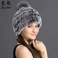 Hats For Women Genuine Rex Rabbit Fur Beanies For Women Winter Thick Warm Knitted Cap With