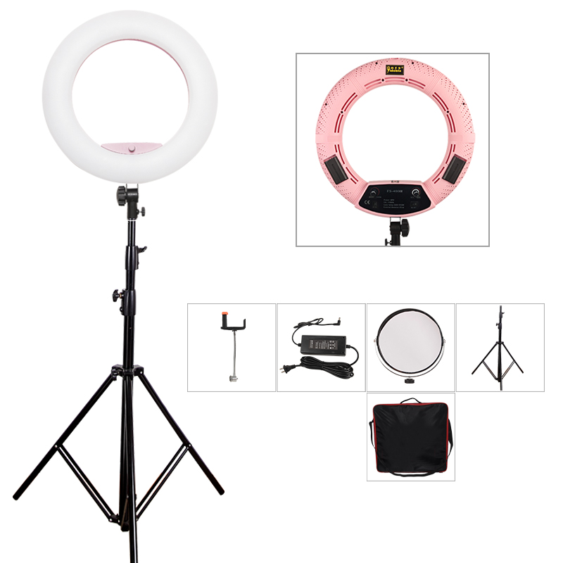 Yidoblo Pink FS-480II Photography/Photo/Studio 18 480 LED Ring Light 5600K Dimmable Camera Ring Video Light Lamp + Tripod + bag