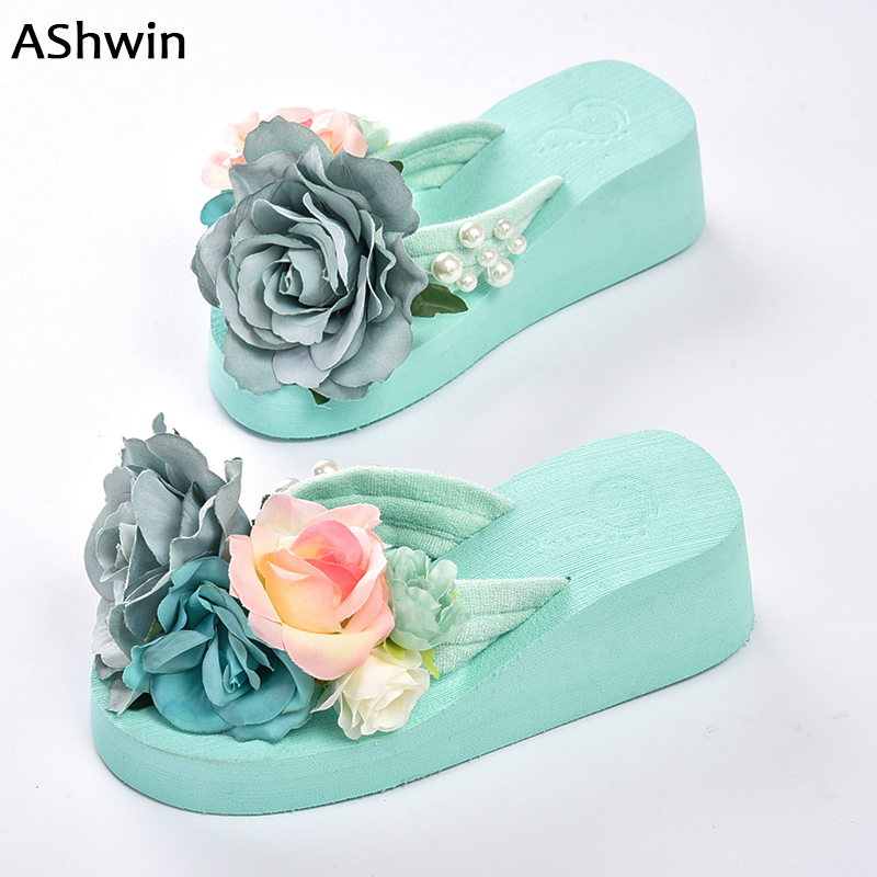 summer women flip flops  thong slippers flower flatform shoes  mules clogs wedge handmade pearl slippers jelly color hawaiian summer women casual jelly shoes beach slippers breathable waterproof clogs for women hollow slippers flip flops shoes mule clogs