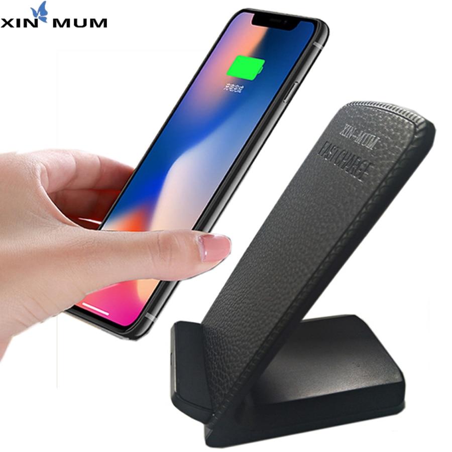 XIN-Maman 10 w Rapide Qi Sans Fil Chargeur En Cuir Pad Pour iPhone X Pour Samsung Pour Huawei P9 P10 huawei Honor 8 9 Compagnon 10 Compagnon 10 Pro