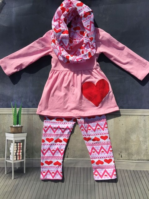 GSCH Baby Girl Clothes Outfit 3pcs Valentineu0027s Day Boutique Children  Clothing Sets With Scarf Girls Pink