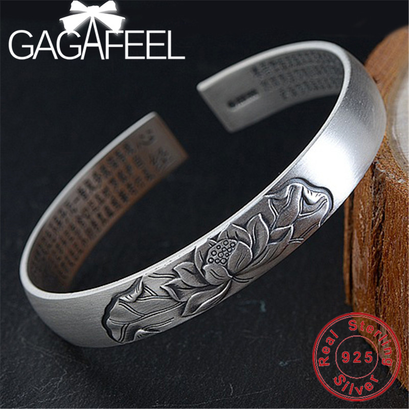 GAGAFEEL Thai Silver Bangles Flower & Scripture Bracelet S990 Sterling Silver Jewelry for Women Female Christmas Gift 16mm round sandalwood thai silver beads bracelet for women buddhism six letter scripture women men fine silver 990 jewelry sb69