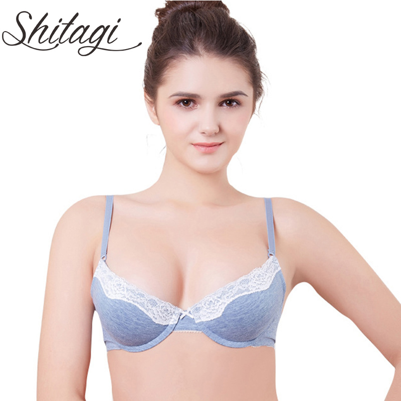 Shitagi 2017 Intimates Low Plunge Sexy Bra BC Cup Women Push Up Bra Sweet Gray Bule Brassiere Lady Underwear Sexy Lace Lingerie