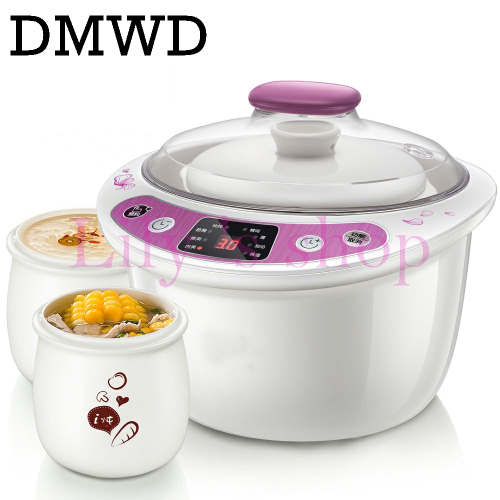 DMWD Intelligent Slow Cookers Electric timing Food Steamer 3 Liner 1.8L Ceramic multifunctional Water Stewing soup Porridge pots dmwd electric kettle eggs slow cooker teapot multifunction porridge stew pot hot water boiler timing milk heater 1 8l 110v 220v