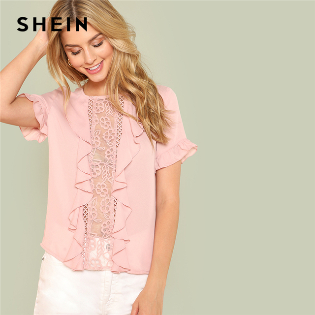 12796da18a11de SHEIN Pink Sexy Round Neck Flounce Short Sleeve Ruffle Embroidery Contrast  Mesh Button Blouse Summer Women Casual Shirt Top