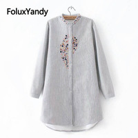 Warm Thick Shirts Women Embroidery Casual Striped Long Sleeve Plus Size Blouse Shirt Autumn Winter KKFY2811