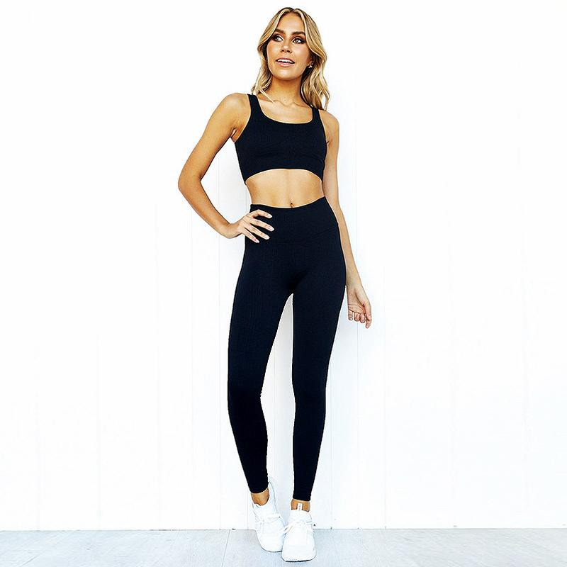 Women Two Piece Set Casual Seamless Tracksuits Cut Out Crop Top And Pencil Pants Sporty Active Wear Running Set Sports Clothing 2