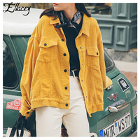 Ellacey New Stylish 2019 Bomber Jacket With Pockets Cotton Corduroy Jacket Women Basic Coats Stylish Slim Fit Fashion Outerwear