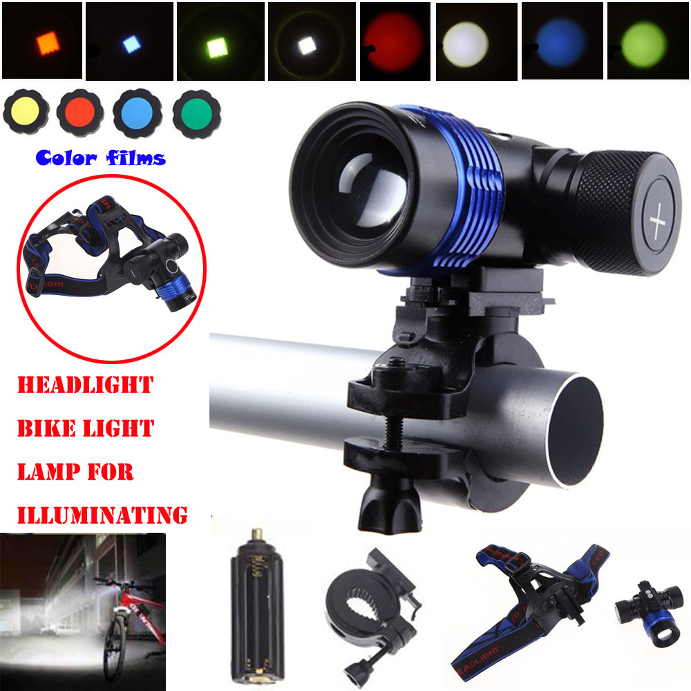 Bicycle light CYCLE ZONE Adjustable Color T6 LED Bike Light Waterproof Headlamp 18650 Charger Battery High Quality Apr24 cree xm l t6 bicycle light 6000lumens bike light 7modes torch zoomable led flashlight 18650 battery charger bicycle clip
