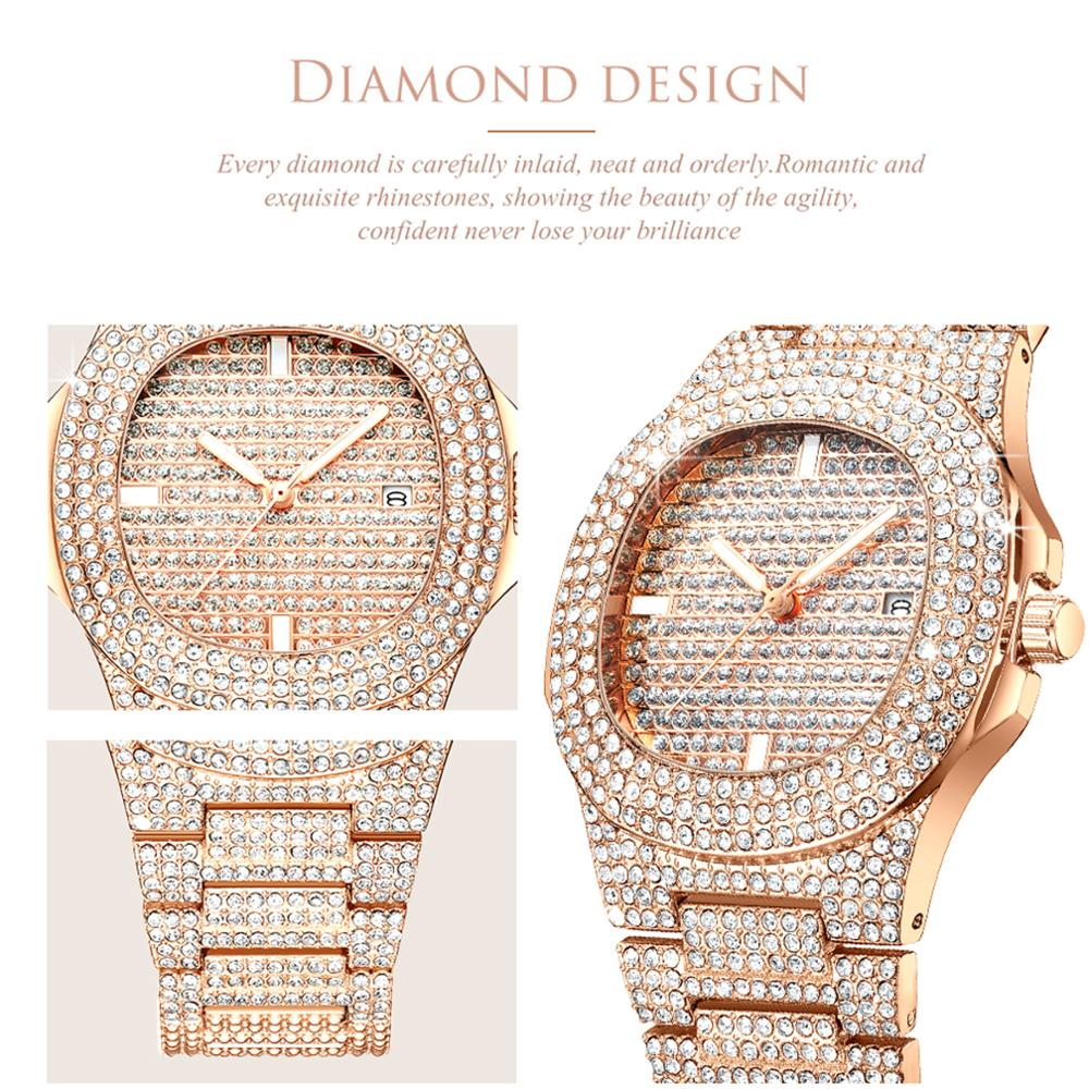 Luxury Gold Watch Women Top Brand Full Diamond Stainless Steel Quartz Wristwatches Ladies Designer Casual Waterproof Date Clock in Women 39 s Watches from Watches