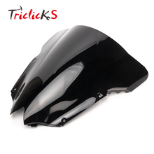 Triclicks Black ABS Double Bubble Windshield Wind Screen Motorcycle Shield WindScreen New For Yamaha YZF R6 600 2008-2015