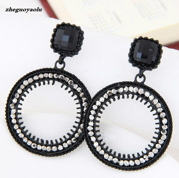 Boucle D'oreille Femme 2017 Exaggerated Large Circle Rhinestone Crystal Dangle D