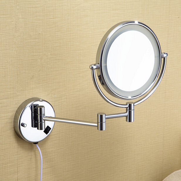 Free shipping LED light makeup mirrors 8 round dual sides 3X /1X mirrors dual arm extend cosmetic wall mount magnifying mirror new fashion 6 inches led bathroom mirror dual arm extend 2 face metal makeup mirror 5x magnifying wall mounted extending folding