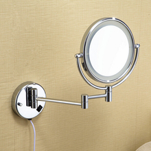 Free shipping LED light makeup mirrors 8″ round dual sides 3X /1X mirrors dual arm extend cosmetic wall mount magnifying mirror