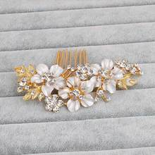 Hot Selling Art Deco Clear Rhinestones Crystals Flower Leaf Alloy Wedding Hair Comb Bridal Hair Accessories Hair Jewelry