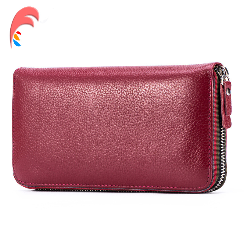 Luxury Women Genuine Leather Mobile Phone Wallet Ladies Wine Red Women Credit Card Holder Women Wallets