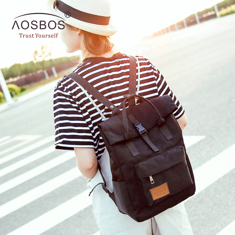 Aosbos Fashion Female Candy Color Nylon Backpacks Preppy Style Zipper Book Bags For S Durable Rucksacks Agers