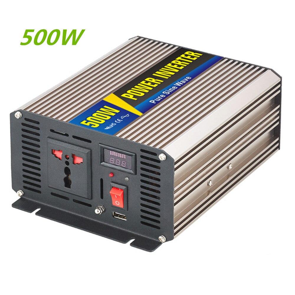 500W Smart Series Pure Sine Wave Inverter DC 12V 24V To AC 110V 220V Peak Power 1000W USB Inverter Luxury Gold Color