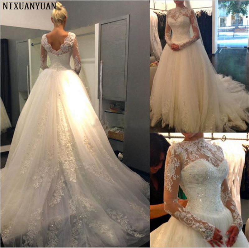 High Neck Appliques Tulle Sequin Beading Lace Long Sleeve Wedding Dress Sweep Train Bridal Ball Gowns