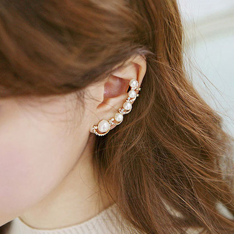 Fashion Exquisite clip on earrings Designed Beautiful Sweet Imitate Pearl Rhinestone Earring Clips Women Ear Cuff 1pcs gold ear