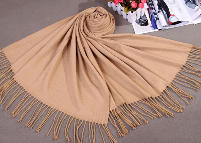 Hot New Camel Lady Winter Thick Faux Cashmere Shawl Scarf Solid Color Cape kerchief Large Long Pashmina Bufanda Mujere FS014