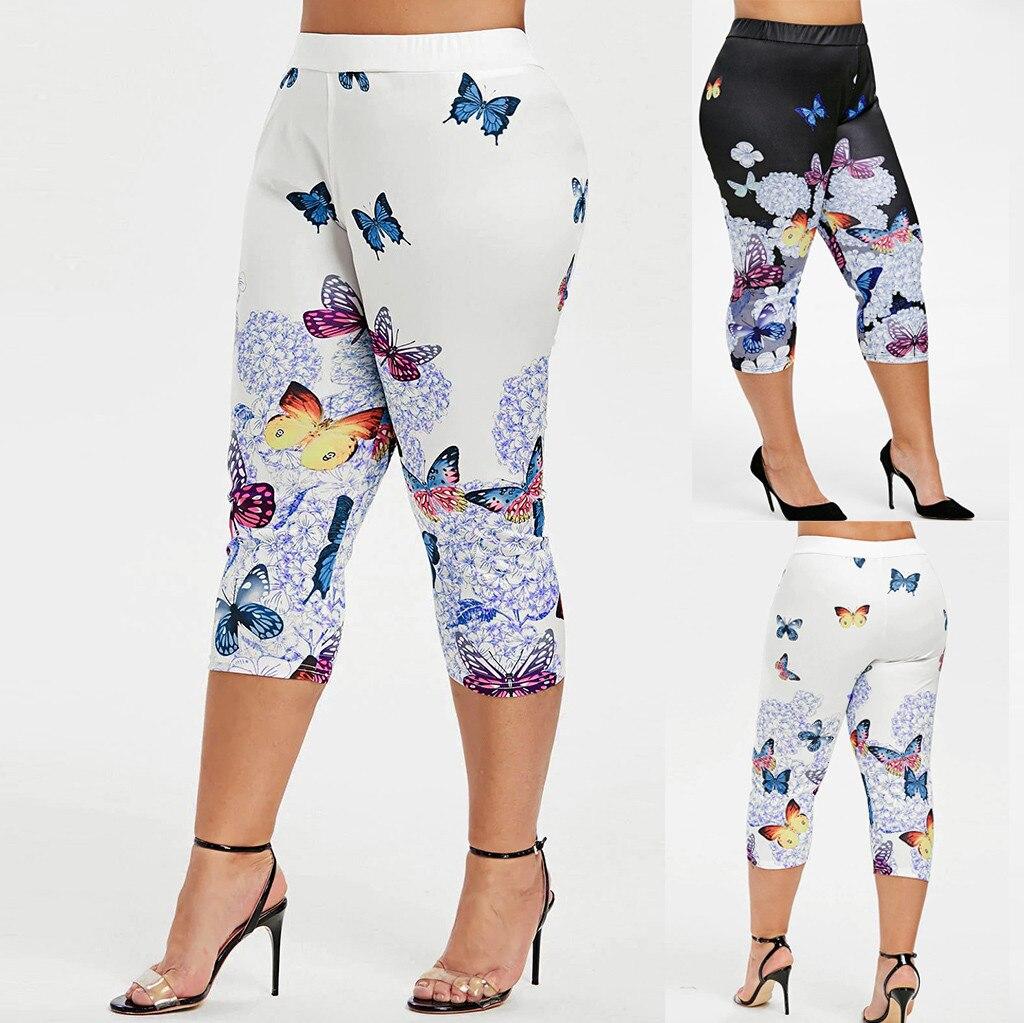 Summer Women   Pants     Capris   High Waist Sexy Leggings Womeen Casual Fashion Butterfly Print Plus Size High Waist Leggings   Pant
