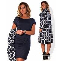 Elegant Autumn Winter Women Dress Large Sizes Women Solid Mini Dresses Plus Size Dress Short Sleeves