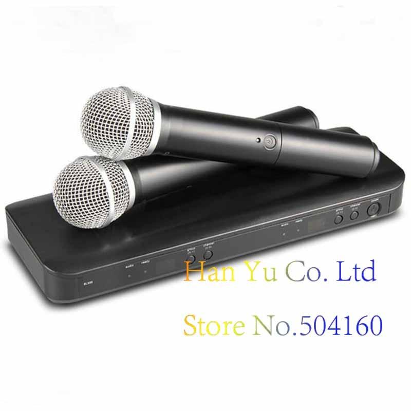 Professional BLX288 UHF Wireless Microphone Karaoke System Dual Handheld Transmitter Mic for Stage DJ KTV free shipping derrica u 1188 professional uhf wireless microphone karaoke system with u 188 handheld transmitter microfone mic