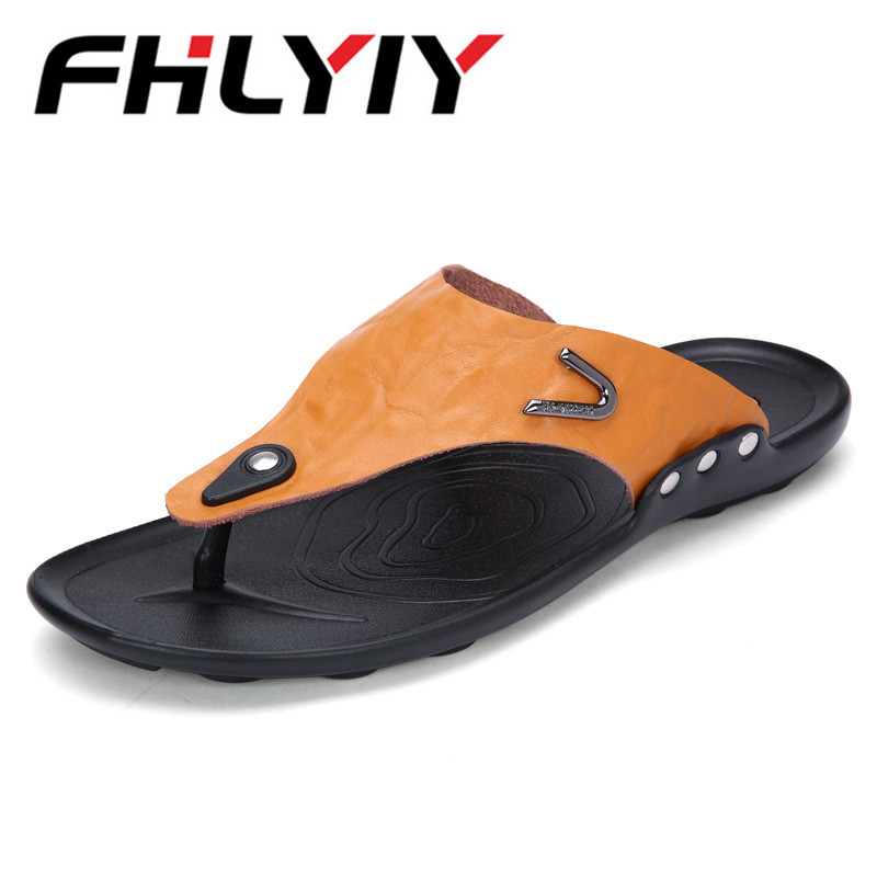 Mens Sandals Fashion Casual Slippers Genuine Leather Black Outdoor Shoes Mens Summer Beach Sandals Sapato Masculino Slipper