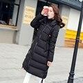 Мода 2017 хлопок Капюшоном зимняя куртка женщин черный Тонкий Женский Пальто Сгущает Куртка длинные женщины Зимняя Куртка