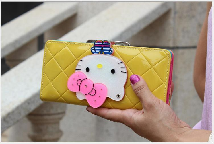 c6c02e46f Hello kitty long famous brand designer purse luxury magic mirror female  wallet women leather wallets for women carteira feminina-in Wallets from  Luggage ...